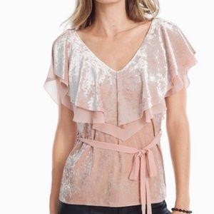WHBM Pink Velvet Flutter Sleeve Top